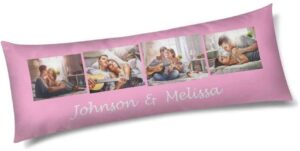 4- Custom Personalized Photo Picture Text Name, Long Body Pillow Cover Polyester (Two Sides