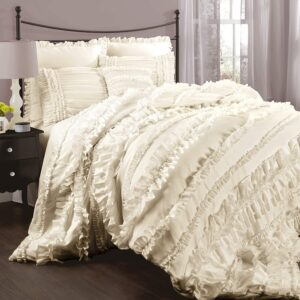 Lush Décor Belle 4 Piece Ruffled Comforter Set with Bed Skirt and 2 Pillow Shams